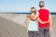 Active senior couple out for a jog Stock Photography