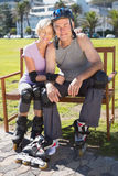 Active senior couple ready to go rollerblading Royalty Free Stock Image