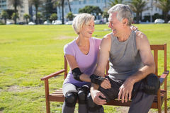 Active senior couple ready to go rollerblading Stock Photo