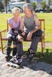 Active senior couple ready to go rollerblading Stock Image