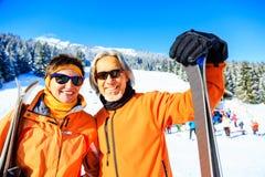 Senior Couple Skiing royalty free stock image