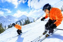 Senior Couple Skiing royalty free stock images