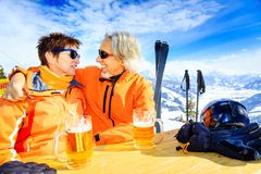 Skiing Senior Couple Having A Break stock photos