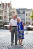 Active senior couple traveling in Europe Stock Photo