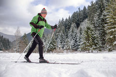 Active senior. Cross-country skiing Royalty Free Stock Images