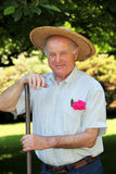 Active senior in the garden Stock Photography