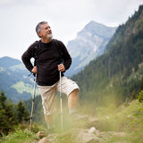 Active senior hiking in high mountains Stock Photography