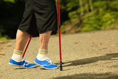 Active senior legs in sneakers nordic walking in a park. Royalty Free Stock Photo