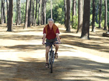 Active senior man cycling through woodland, smiling, front view, portrait Stock Photos