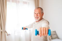 Senior man doing exercise at home. Active senior man doing exercise at home Stock Photo