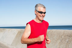 Active senior man jogging on the pier Stock Images