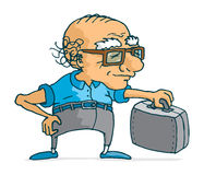 Active senior man with suitcase ready for travel Stock Photos