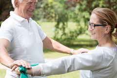 Active senior marriage improving condition. Image of active senior marriage improving their physical condition Stock Image