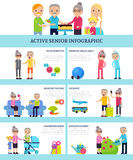 Active Senior People Flat Infographics Royalty Free Stock Image