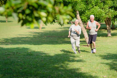 Active senior people jogging in city park. Active retirement, senior couple running and exercising in city park. Copy space royalty free stock photo