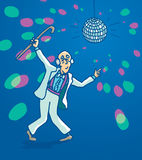 Active senior retro disco dancing Stock Photo
