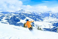 Senior Woman Skiing royalty free stock image