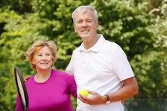 Active senior tennis players Royalty Free Stock Image