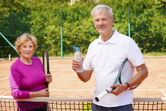 Active senior tennis players Stock Image