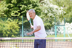 Active senior tennis players Stock Photo