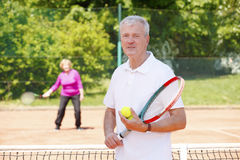 Active senior tennis players Royalty Free Stock Photo