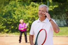 Active senior tennis players Royalty Free Stock Photography