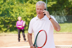 Active senior tennis players Stock Photos