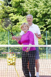 Active senior tennis players Stock Images