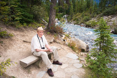 Active Senior Tourist Enjoying Nature Stock Image