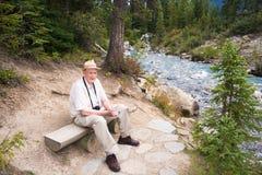 Active Senior Tourist Enjoying Nature stock image