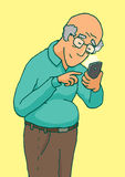 Active senior using a smartphone with touchscreen Stock Image