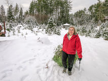 Active Senior Woman Cuts A Christmas Tree Royalty Free Stock Photography