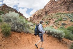 Active Senior Woman hiking in a beautiful red rock canyon Royalty Free Stock Photography