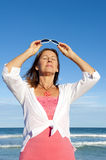 Active senior woman ocean background Stock Photography