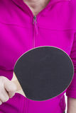Active senior woman. Playing table tennis in front of white background Royalty Free Stock Images