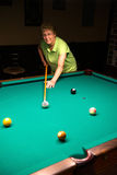 Active Senior Woman Pool Billiards Royalty Free Stock Image
