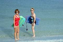 Active senior women at beach royalty free stock image