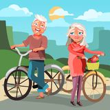 Active seniors couple with bicycles. Happy, healthy, smiling seniors outdoor on a walk with bikes. Beautiful, summer/spring landscape background. Cute, cartoon Stock Image