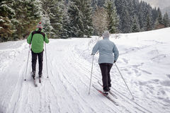 Active seniors. Cross-country skiing Royalty Free Stock Photo