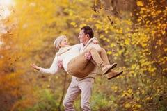 Active seniors having fun in nature Royalty Free Stock Photos