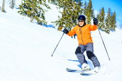 Senior Man Skiing Stock Images