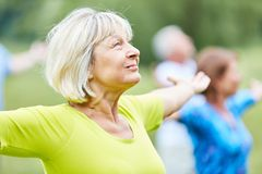 Free Active Seniors In A Yoga Class Stock Image - 159817381