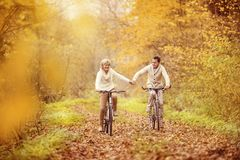Active seniors riding bike. In autumn nature. They relax outdoor Stock Photo
