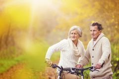 Active seniors riding bike. In autumn nature. They relax outdoor Royalty Free Stock Images