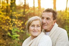 Active seniors taking walk in nature Royalty Free Stock Photo