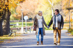 Active seniors in town Royalty Free Stock Images
