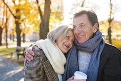 Active seniors in town Stock Photos