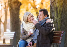 Active seniors in town Royalty Free Stock Photography