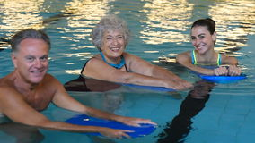 Active seniors at water fitness stock video footage