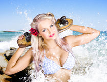 Active Summer Beach Babe With Skateboard Stock Image